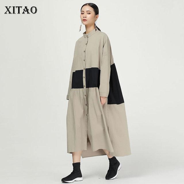 XITAO קפלים להיט צבע Midi שמלת נשים מקורי עצמאי עיצוב יחיד שד אלגנטי טלאי אלת מאוורר שמלת WQR1642
