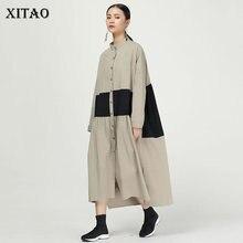 XITAO Pleated 히트 컬러 미디 드레스 여성 원래 독립 디자인 단일 유방 우아한 패치 워크 여신 팬 드레스 WQR1642