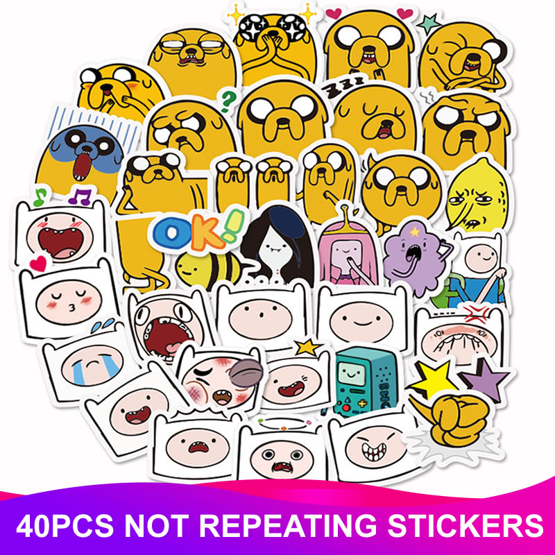 40pcs Animal Adventure Time Stickers PVC Waterproof Scrapbooking Luggage Motorcycle Guitar Skateboard Funny Sticker Kids Toys