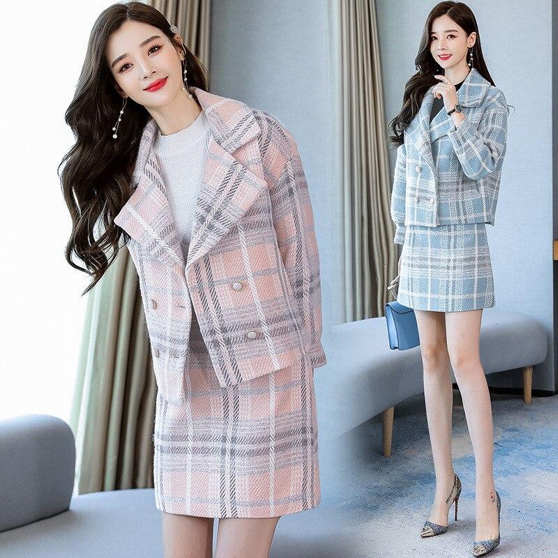 2019 Autumn And Winter New Style Korean-style Checkered Two-Piece Set Woolen Jacket Suit Collar Sheath Suit Skirt Woolen Jacket