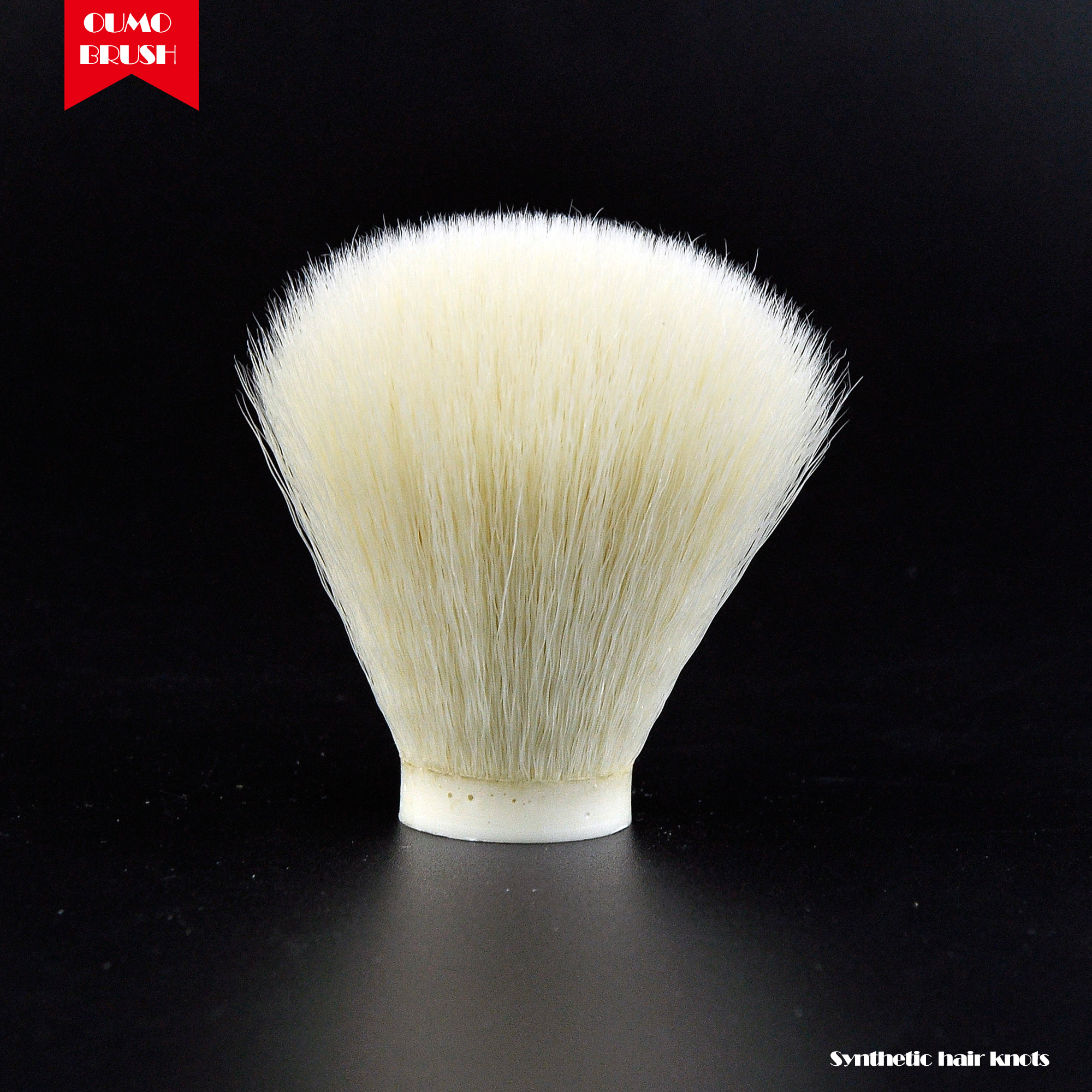 OUMO BRUSH-cream White Synthetic Hair Knot Shaving Brush Knots