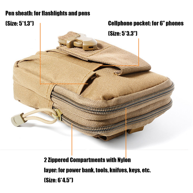 Tactical Molle Phone Pouch Belt Waist Bag Military Waist Accessory Pack Utility EDC Gear Bag Gadget Divider Organizer Storager 1
