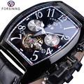 Forsining Лидирующий бренд Роскошные мужские часы черный кожаный ремешок в деловом стиле мужские наручные часы Высокое качество механические А...
