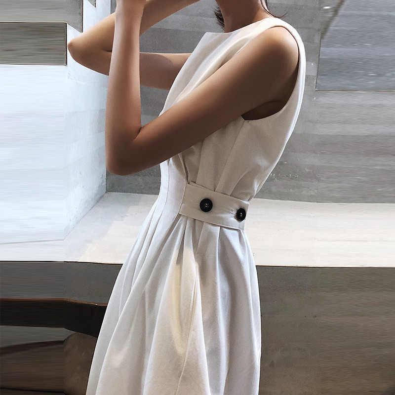 Mouwloze Zomer Witte Elegante Vrouwen Jurk O Neck Pockets Black Midi Jurken Vrouwelijke 2020 Fashion Casual Lady Tank Zonnejurk