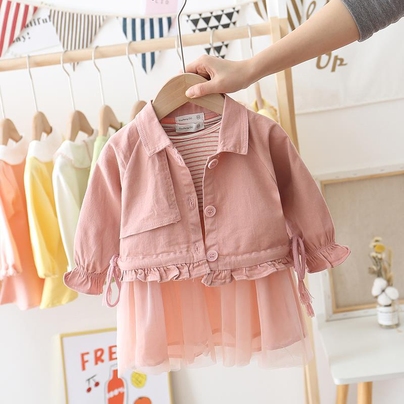 Baby Girls Sweet Dress + Jacket 2pcs Suits Spring New Girl Princess Two-piece Stripe Outfit Sets Kids