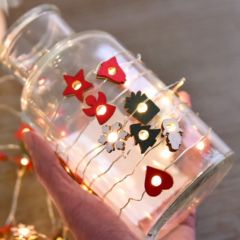 Christmas Design Wooden Fairy String Lights Battery Operated Decorative LED Light String Festive Party Supplies