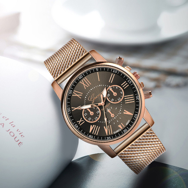 Stainless Steel Strap Watches For Women Luxury 2020 Rose Gold Dial Quartz Wrist Watch For Ladies Bracelet Reloj Mujer Relogio 4