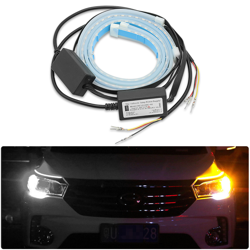 2pcs For VW Golf 4 5 6 7 <font><b>Passat</b></font> B5 <font><b>B6</b></font> B7 Polo CC MK4 MK5 MK6 For Lada Vesta Granta Car <font><b>DRL</b></font> Flow Strip Light <font><b>Turn</b></font> <font><b>Signal</b></font> Light image
