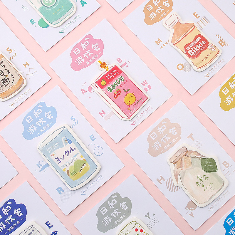 30pcs Cute Post-it Notes Kawaii Memo Pad Beverage Shop Series N Times Post Students Message Note Pad Stationery School Supply