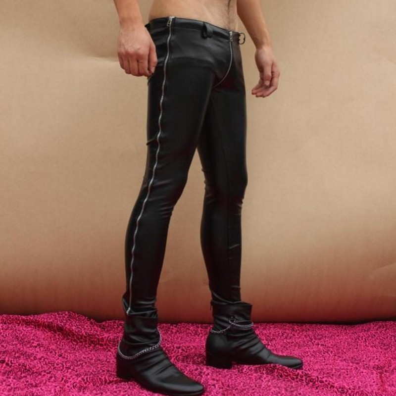 High Quality Men Full Length Zippers Skinny Pencil Pants New Designer Pu Leather Punk Sexy Zip Low Waist Pants Big Size Trousers
