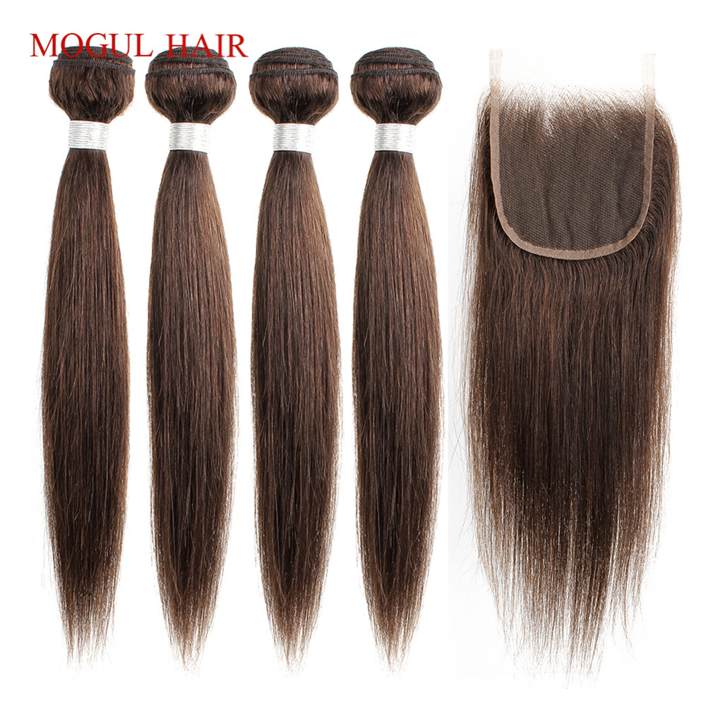 MOGUL HAIR Brazilian Hair Bundle With Closure Color 2 Dark Brown 3/4 Bundles With Closure Straight Non Remy Human Hair Extension