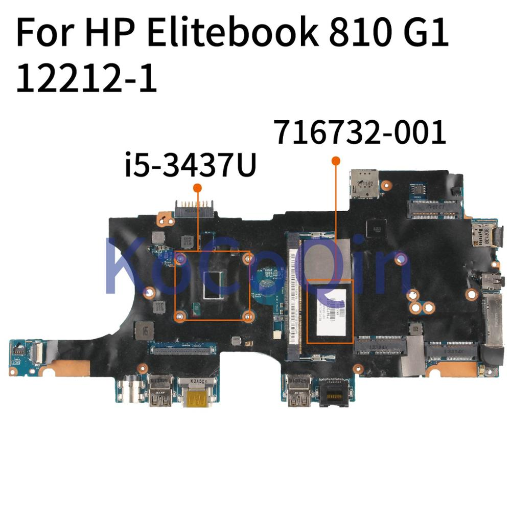 KoCoQin 716732-001 716732-501 Laptop motherboard For <font><b>HP</b></font> Elitebook <font><b>810</b></font> <font><b>G1</b></font> Core SR0XE I5-3437U Mainboard 12212-1 image