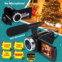 Профессиональная видеокамера 1080P HD, камера ночного видения, 3,0 дюймов, HD сенсорный экран, камера с 18X цифровым зумом с микрофоном
