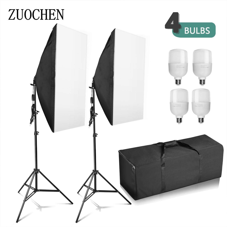 ZUOCHEN 4x25 W LED Studio de photographie Softbox Kit de support d'éclairage Photo ensemble de lumière vidéo pour la photographie d'intérieur