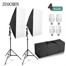 Zuochen kit de iluminação para fotografia, 4x25w, led, softbox, suporte para fotografia, conjunto de luz para fotografia interna