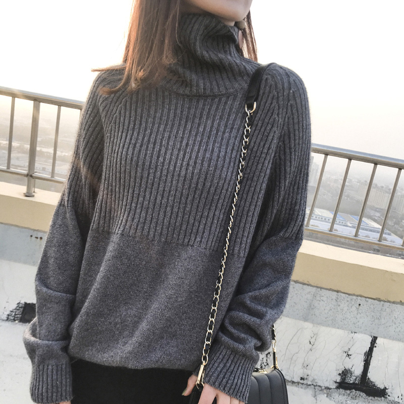 Sweater Women Turtleneck Pullovers Solid Stretch Striped Korean Top Knit Plus Size Harajuku Fall 2020 Winter Clothes Beige Khaki 11