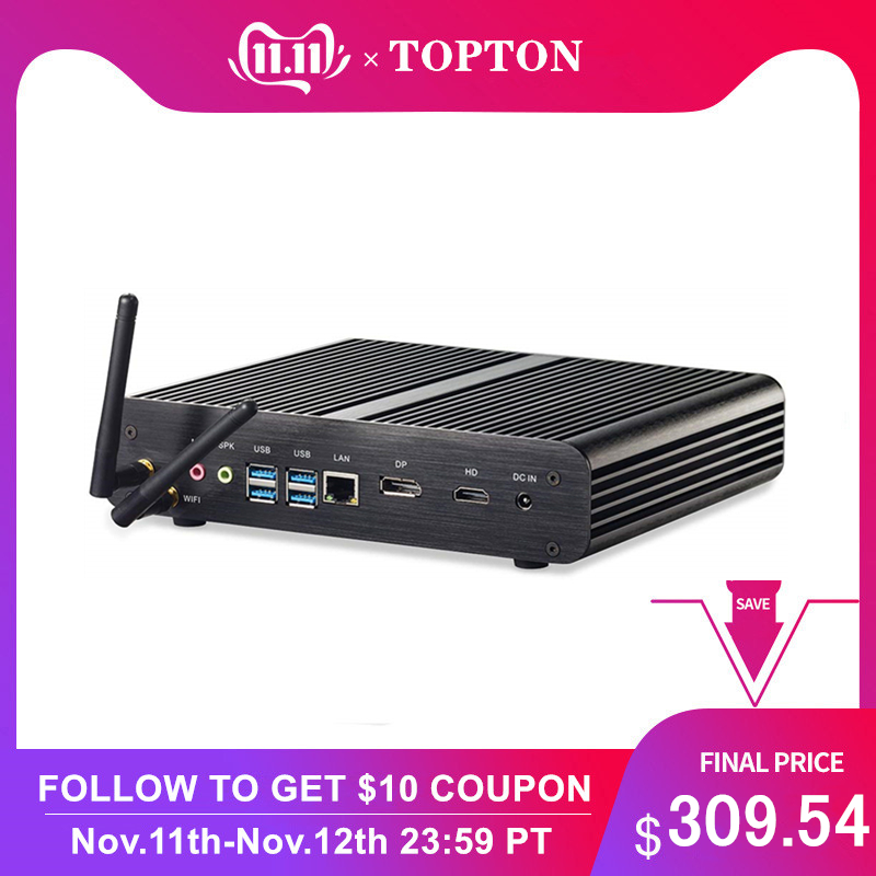 Topton Fanless Mini PC I7 8565U 8550U Whiskey Lake 4 Core 8 Threads 2*DDR4 M.2 PCIe Mini Computer Windows 10 Pro DP HDMI HTPC