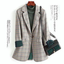 Korean Gray Plaid Ladies Blazer Vintage Loose Casual Stylish Suit Jacket Abrigos Office Spring Women Blazer Plus Size MM60NXZ