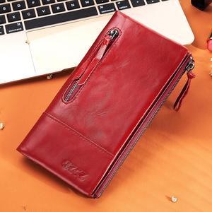Image 5 - Ünlü marka hakiki deri kadın uzun cüzdan kadın fermuar kelepçe bozuk para cüzdanı bayan cüzdan moda cep telefonu cep para çantası