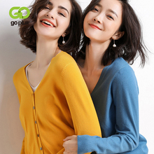 GOPLUS 2019 Autumn Winter Cardigan Womens Knitted Jacket Sexy V Neck Long Sleeve Sweater Casual Slim Jumper Pull Femme