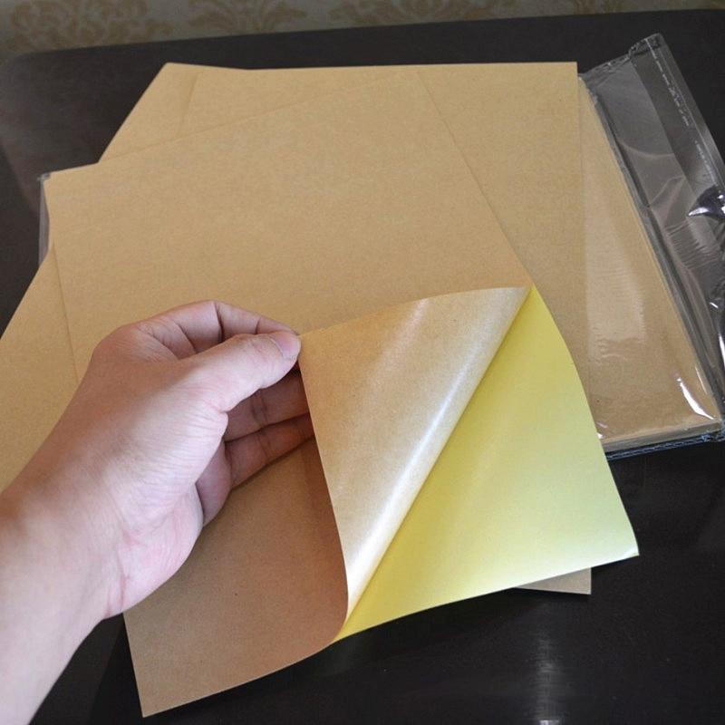 100pcs/Bag Adhesiuve Paper A4 Kraft Paper Printing Sticker Printable Vinyl Printable Inkjet Laser A4 Print Label Sticking Paper