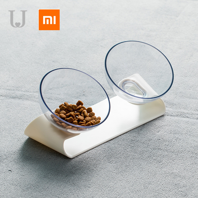 Xiaomi Mijia Jordan&Judy PE001 Pet Dog Cat Pet Double Bowl Transparent Tilt Design Healthy Material From Xiaomi Youpin
