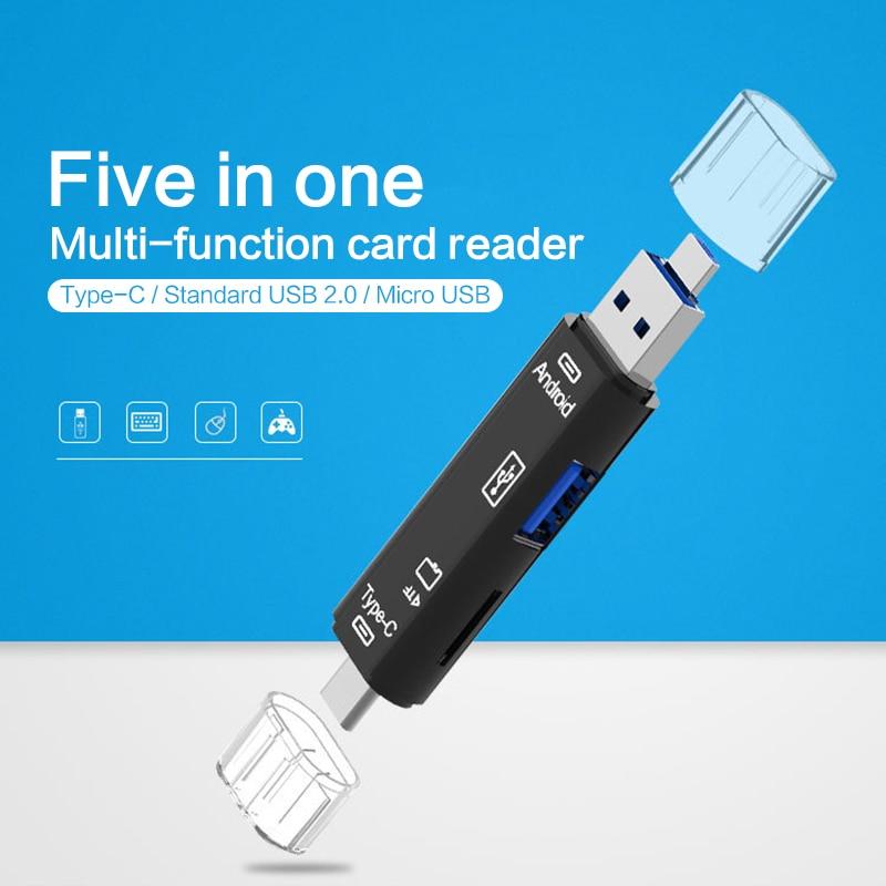 Usb 2.0 Type C/Usb /Micro Usb/Tf Memory  Card Reader Smart Memory Card Reader OTG Typec Adapter Mini Cardreader Microsd Computer