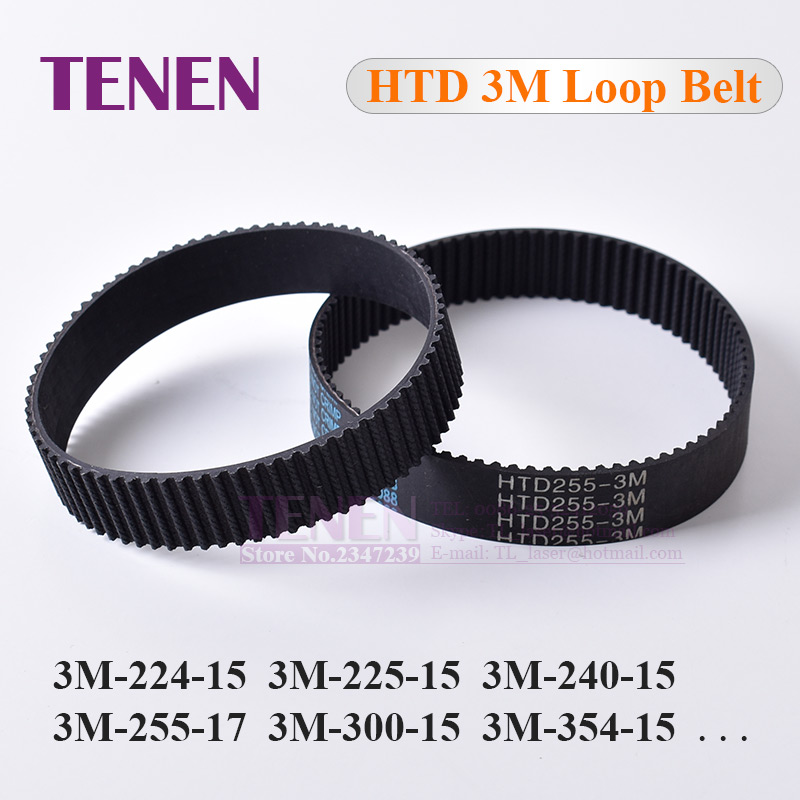 Closed Loop Timing Belt Transmission Belts HTD 3M-255-15 Perimeter 225 267 300 324 384 519mm Customized Width 8 9 10 15 17mm