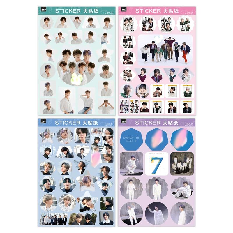 KPOP Sticker Korean Star Sticker Bulletproof MAP OF THE SOUL_7 New Album Around RM JIN V Self-adhesive A4 Sticker 7