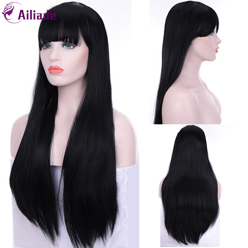 AILIADE Black Long Straight Wig With Bangs Synthetic Hair Wigs Neat Bangs With Wig For Woman Black Heat Resistant Wigs