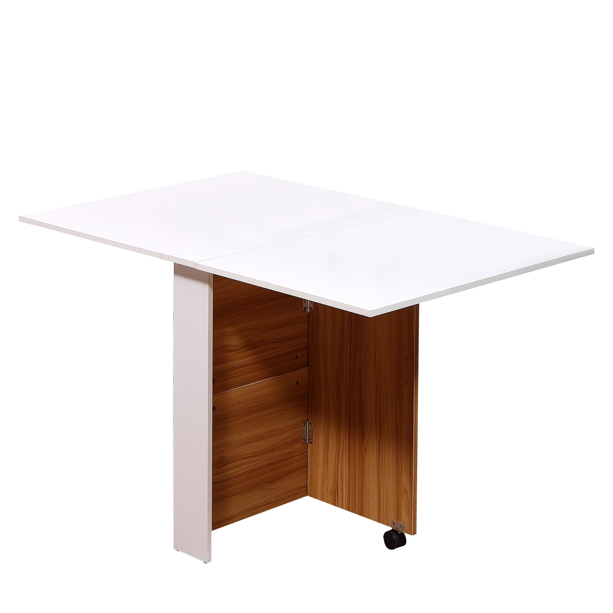 HOMCOM Dining Table Modern Design Folding Wheeled 120 × 80 × 73 Cm