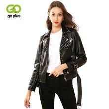 GOPLUS Womens Moto Biker Jacket Rivet Adjustable Waist Leather Jackets and Coats Veste En Cuir Femme Kurtka Damska C9528