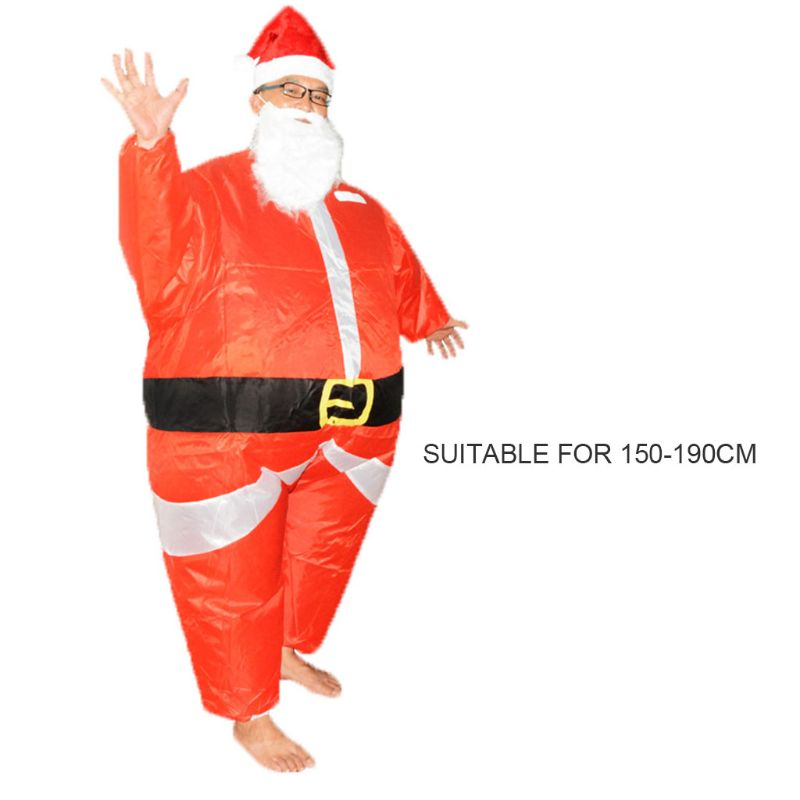 Santa Claus Costume Adult Inflatable Blow Up Suit Christmas Fancy Dress Cosplay