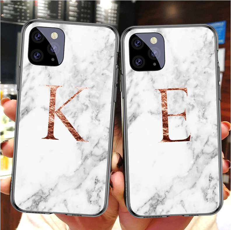 Custom name Letter rose gold marble Logo <font><b>Case</b></font> <font><b>for</b></font> <font><b>iPhone</b></font> 11 Pro MAX SE 5 6 6S 7 8Plus MAX XR XS X10 Kenzos soft phone Cover image