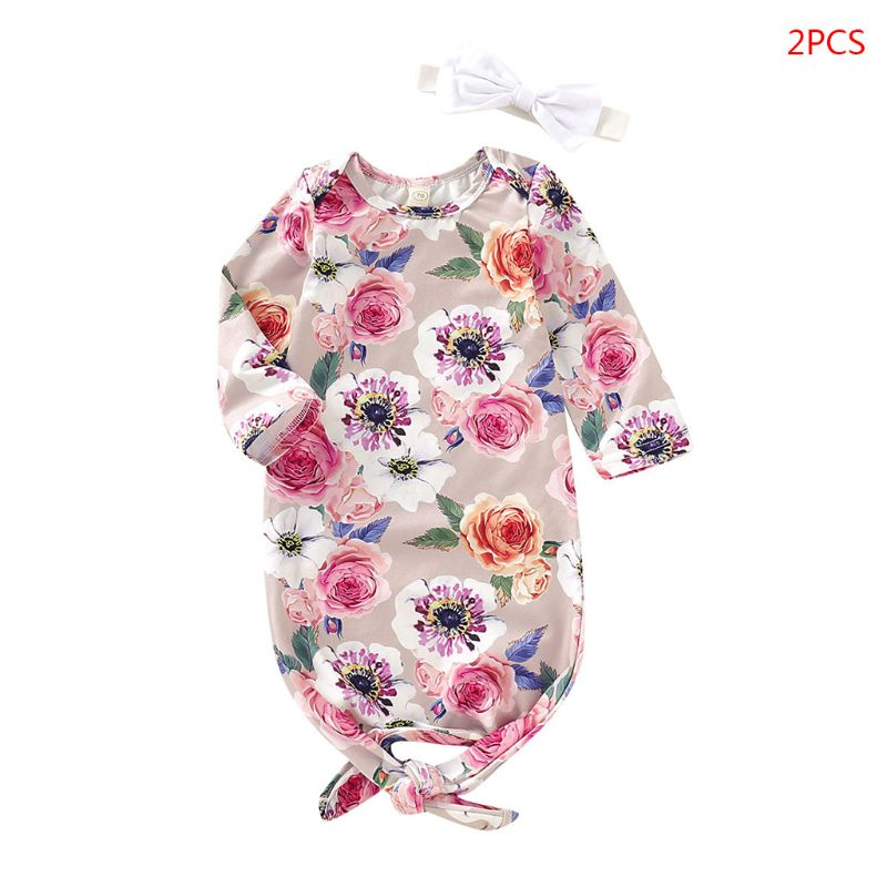 2 Pcs/set Cute Baby Print Anti-kick Sleeping Bag Bow Headband Set Newborn Infants Shower Gift Baby Wrap Headband