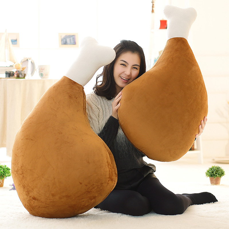 60cm Creative Plush Toy Big Drumstick Pillow Toy Cartoon Funny Doll Simulation Chicken Nugget Pillow