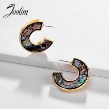 Joolim Natural Shell Paper Hoop Earring Quater Earring Design Jewelry цена