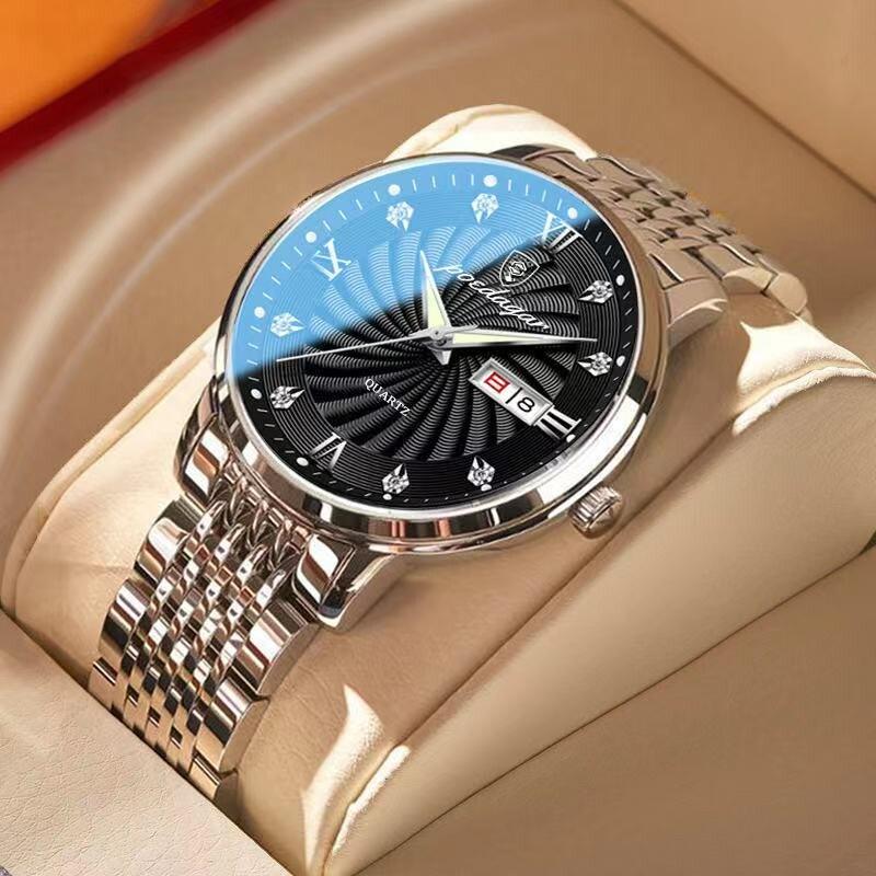 2021The New Top Brand Luxury Mens Watches Luminous Waterproof Stainless Steel Watch Quartz Men Date Calendar Business Wristwatch