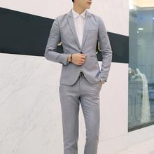 2Pcs Men Two-piece Solid Color Lapel Blazer Suit Button Long Sleeve Slim Fits Blazers Suits Pants For Business