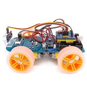 Image 2 - 4WD عصا تحكم لاسلكية التحكم عن بعد المطاط عجلة موتور تروس عدة السيارة الذكية مع البرنامج التعليمي لاردوينو UNO R3 نانو Mega2560