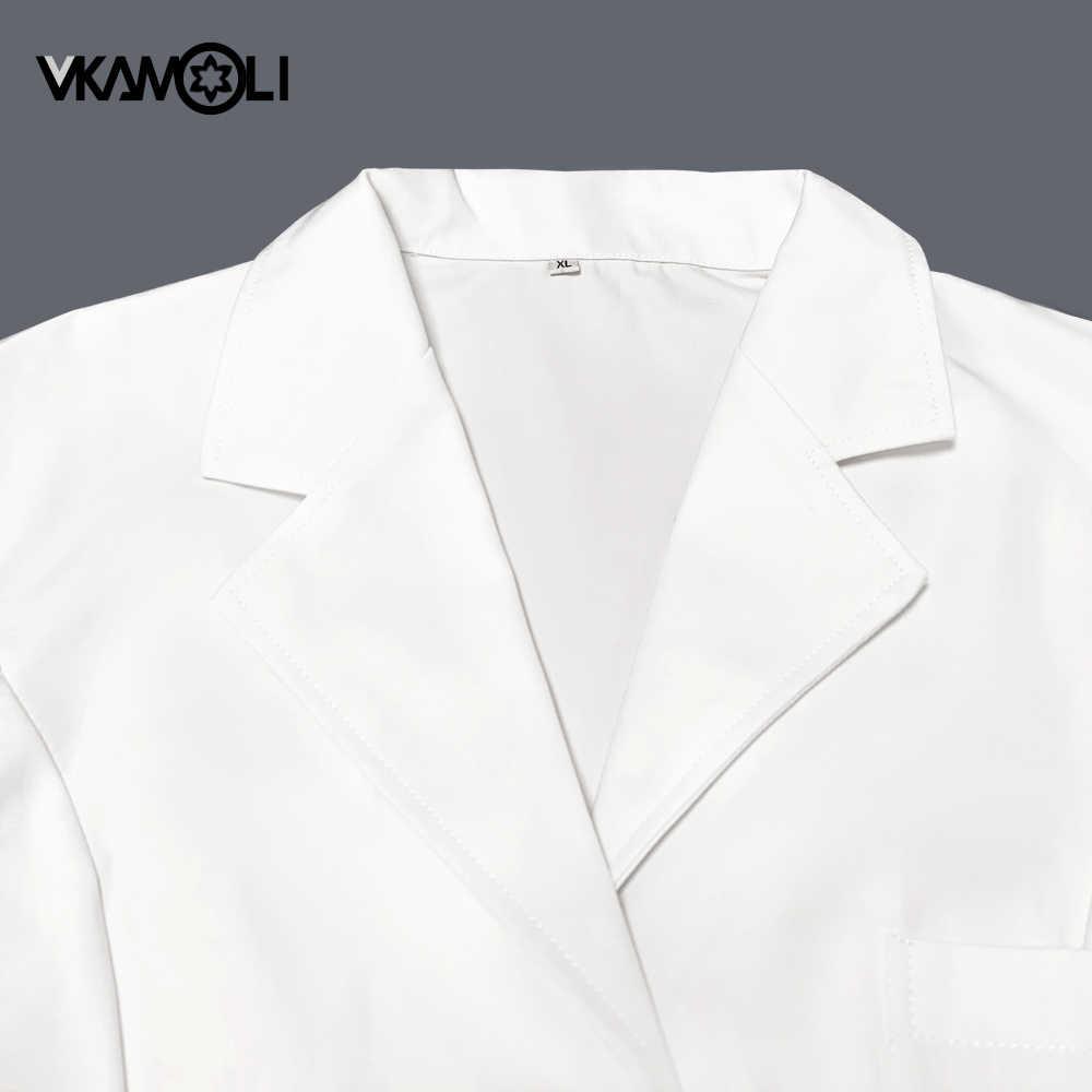 Vkamoli רופא אחות של מעיל בגדים רפואיים מרקחת שיניים מרפאת שמלת מדים ארוך שרוול רפואי בגדים לנשים