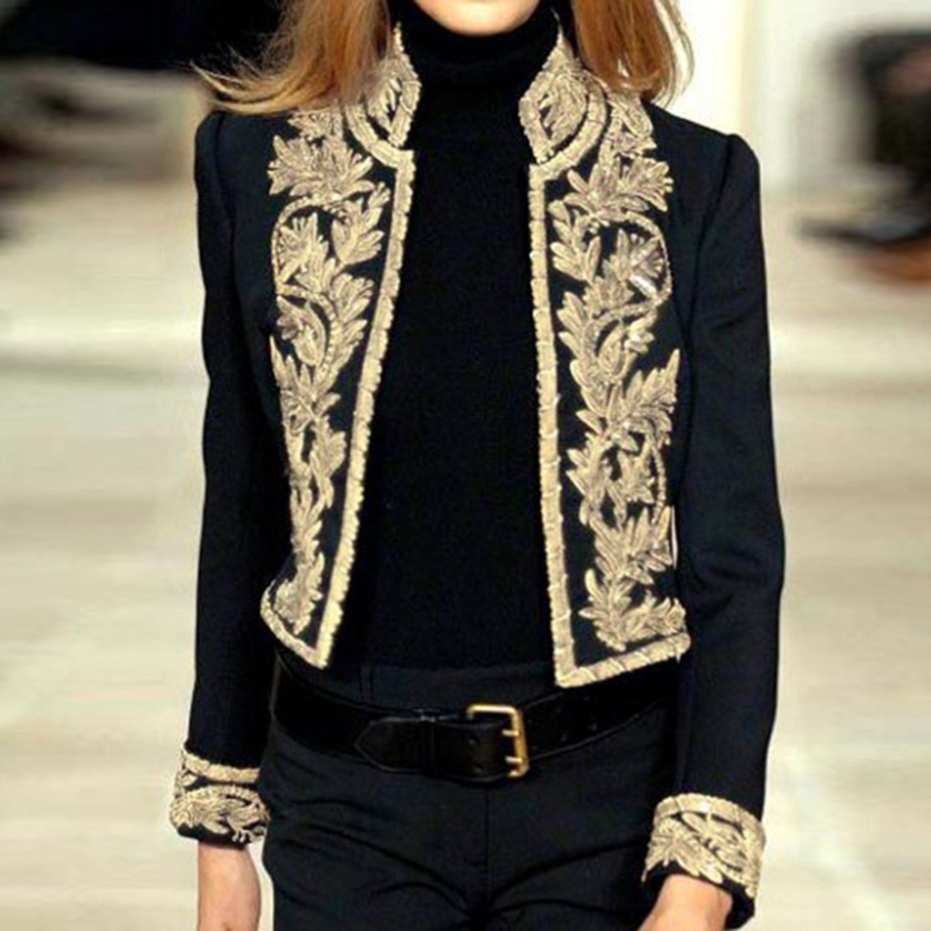New Women Outerwear Winter Clothing Women Long Sleeve Open Front Short Cardigan Suit Jacket Work Office Coat Top 25