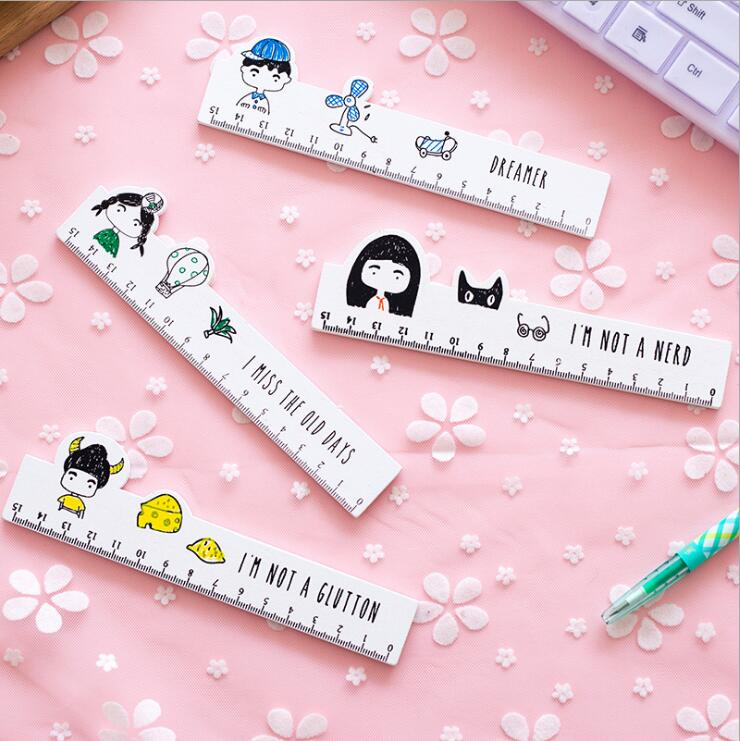 15cm My Best Classmate Regular Wooden Ruler Straight Ruler MeasuringTool Novelty Kawaii Stationery Supply