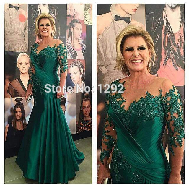 Green Mother Of The Bride Dresses Mermaid 3/4 Sleeves Chiffon Appliques Beaded Plus Size Long Groom Mother Dresses For Wedding