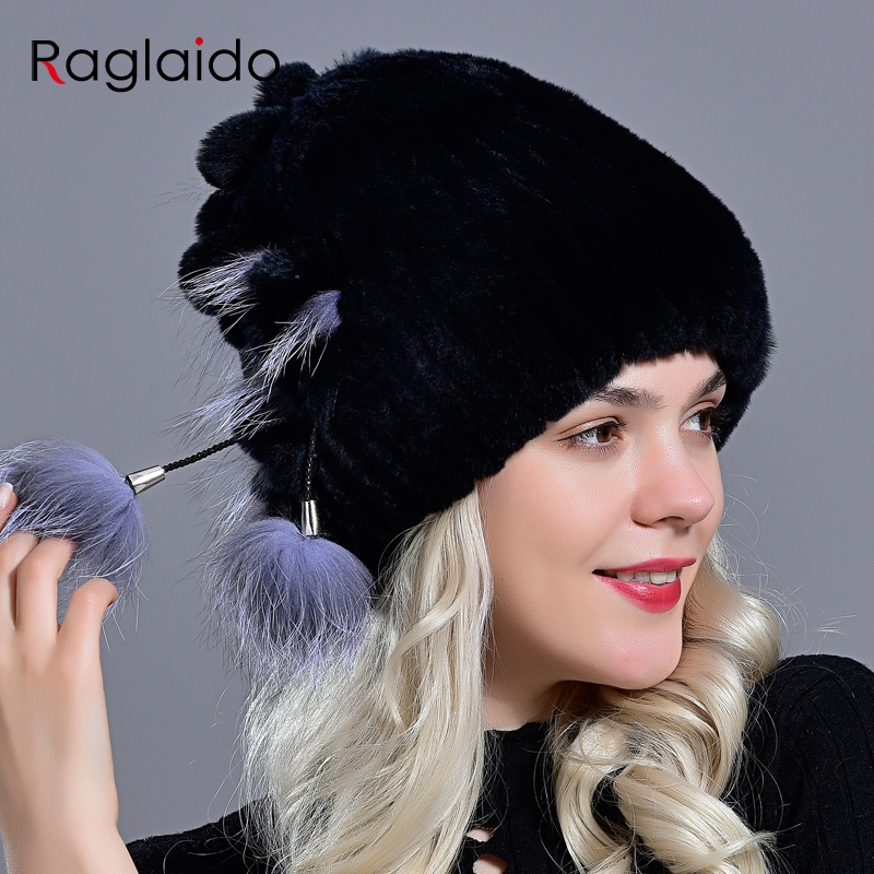 Natural Fur Hat Women's Winter Rex Rabbit Fox Fur Pompom Beanie Hat Furry Cap Fashionable  Fluffy Genuine Real Fur Knitted Caps