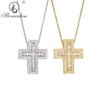Slovecabin 925 Sterling Silver Double Cross Pendant Necklace Crystal CZ Zircon Gold Long Chian Japan Handmade Heavy Jewelry фото