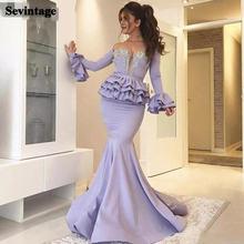 Sevintage Русалка с длинным рукавом Многоярусное вечернее платье