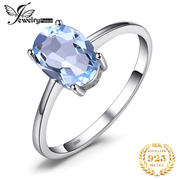 цена JewelryPalace Genuine Blue Topaz Ring Solitaire 925 Sterling Silver Rings for Women Engagement Ring Silver 925 Gemstones Jewelry онлайн в 2017 году