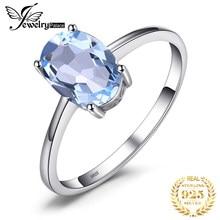 JewelryPalace prawdziwy niebieski pierścień Topaz Solitaire 925 srebro pierścionki dla kobiet pierścionek zaręczynowy srebro 925 kamieni szlachetnych biżuteria