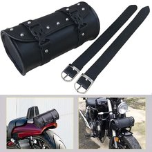 Universal Saddlebag PU Leather Round Black Mounting Strap Storage Bag for Harley(China)